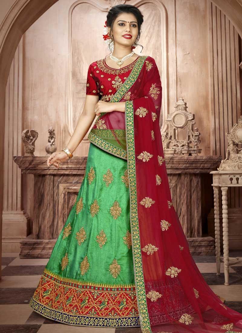 Art Silk Mint Green and Red A - Line Lehenga