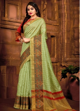 Art Silk Mint Green and Red Designer Contemporary Saree For Casual