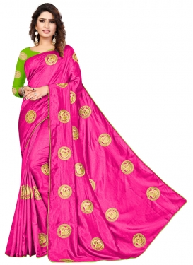 Art Silk Mint Green and Rose Pink Designer Contemporary Style Saree For Ceremonial