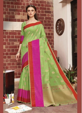 Art Silk Mint Green Traditional Designer Saree