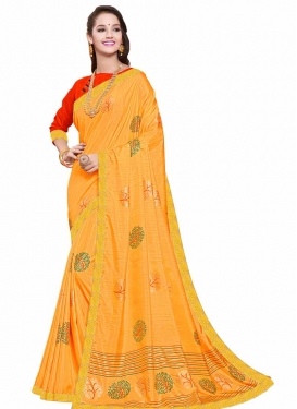 Art Silk Mustard and Red Contemporary Style Saree