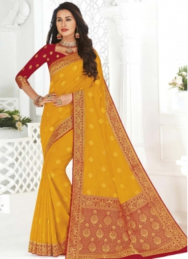 Art Silk Mustard and Red Designer Traditional Saree For Ceremonial