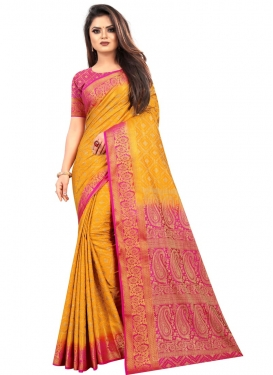 Art Silk Mustard and Rose Pink Designer Traditional Saree