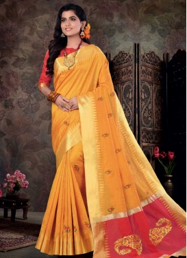 Art Silk Mustard and Salmon Designer Contemporary Style Saree For Casual
