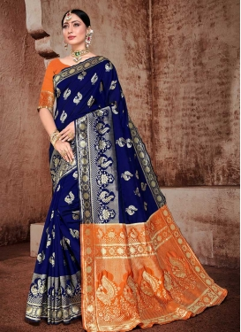 Art Silk Navy Blue and Orange Woven Work Contemporary Style Saree
