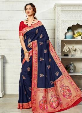 Art Silk Navy Blue and Red Designer Contemporary Saree For Ceremonial
