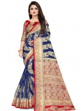Art Silk Navy Blue and Red Designer Contemporary Style Saree