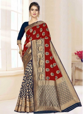 Art Silk Navy Blue and Red Designer Half N Half Saree For Casual
