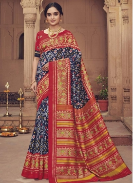Art Silk Navy Blue and Red Digital Print Work Designer Traditional Saree