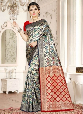 Art Silk Navy Blue and Red Traditional Designer Saree