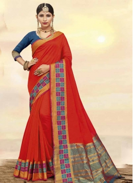 Art Silk Navy Blue and Red Traditional Saree