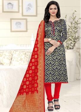 Art Silk Navy Blue and Red Trendy Churidar Salwar Kameez