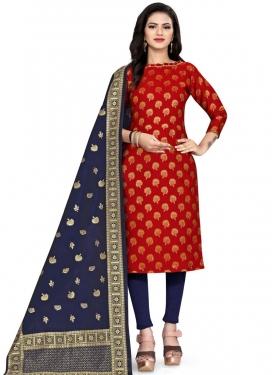 Art Silk Navy Blue and Red Woven Work Straight Salwar Kameez