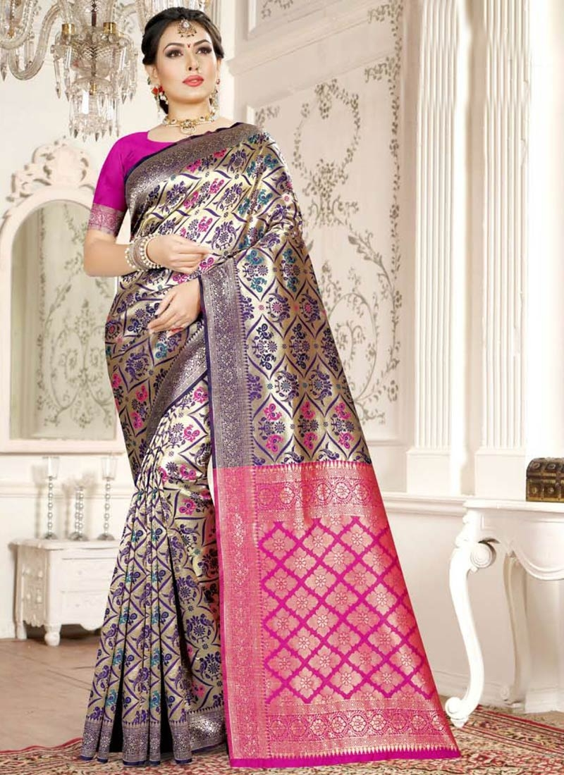 Art Silk Navy Blue and Rose Pink Designer Contemporary Style Saree For Casual