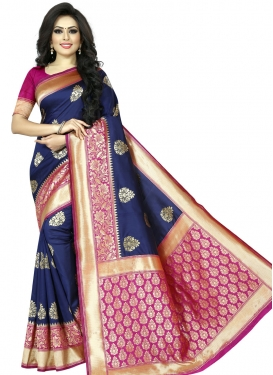 Art Silk Navy Blue and Rose Pink Thread Work Trendy Saree
