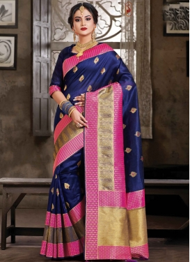 Art Silk Navy Blue and Rose Pink Woven Work Contemporary Style Saree