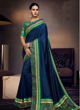 Art Silk Navy Blue and Sea Green Contemporary Saree For Ceremonial