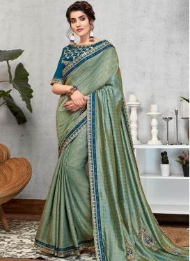 Art Silk Navy Blue and Sea Green Embroidered Work Traditional Saree