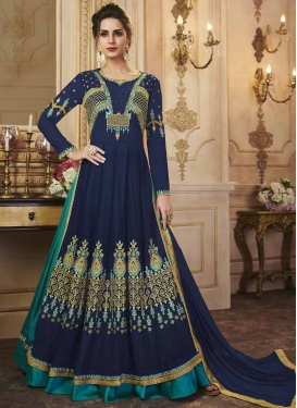 Art Silk Navy Blue and Teal Designer Kameez Style Lehenga