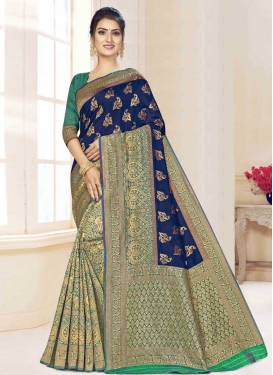 Art Silk Navy Blue and Teal Half N Half Saree For Casual