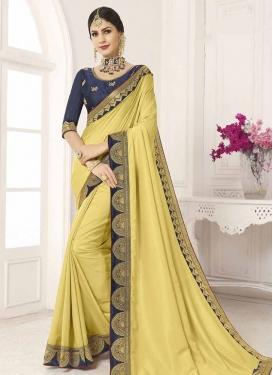 Art Silk Navy Blue and Yellow Embroidered Work Designer Traditional Saree