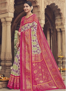 Art Silk Off White and Rose Pink Trendy Classic Saree For Casual
