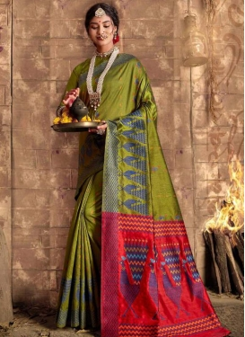 Art Silk Olive and Red Woven Work Traditional Designer Saree