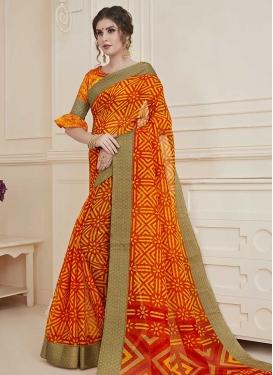 Art Silk Orange and Red Print Work Traditional Saree