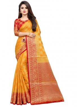 Art Silk Orange and Red Woven Work Designer Traditional Saree