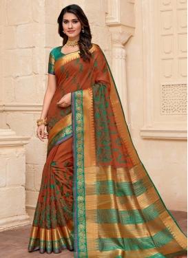 Art Silk Orange and Sea Green Designer Contemporary Style Saree For Casual
