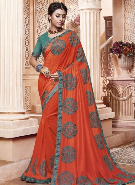 Art Silk Orange and Sea Green Traditional Designer Saree For Ceremonial