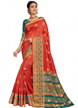 Art Silk Orange and Teal Thread Work Traditional Saree