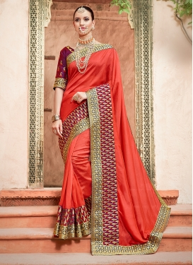 Art Silk Orange Patch Border Traditional Designer Saree