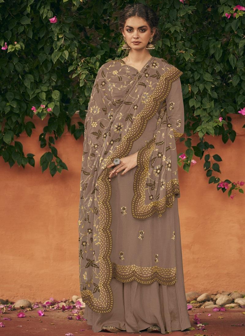 Art Silk Palazzo Style Pakistani Salwar Kameez