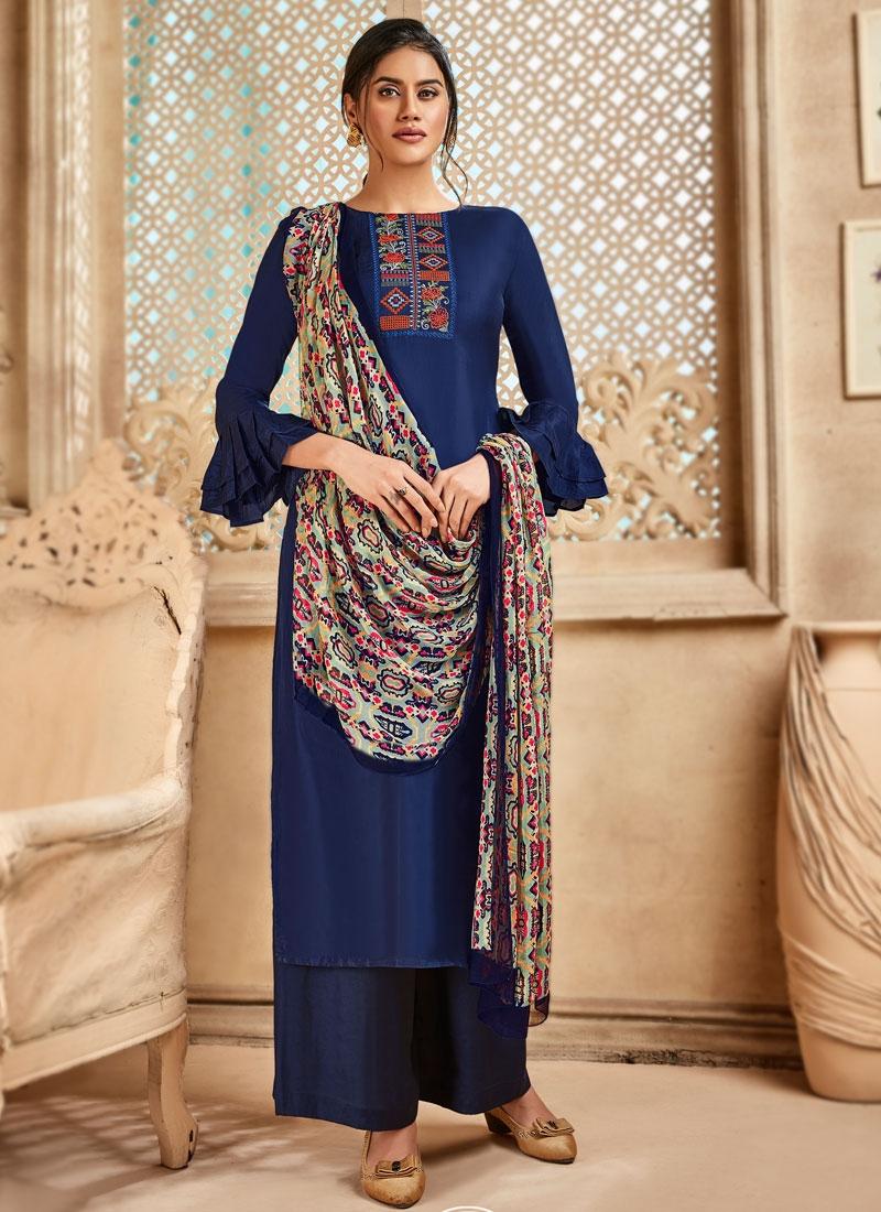 Art Silk Palazzo Style Pakistani Salwar Kameez For Ceremonial