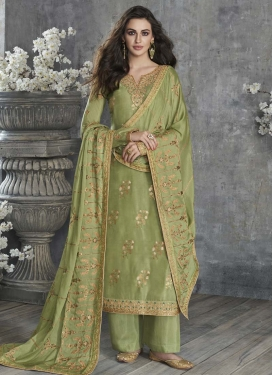 Art Silk Palazzo Style Pakistani Salwar Kameez For Ceremonial