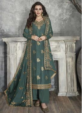 Art Silk Palazzo Style Pakistani Salwar Suit