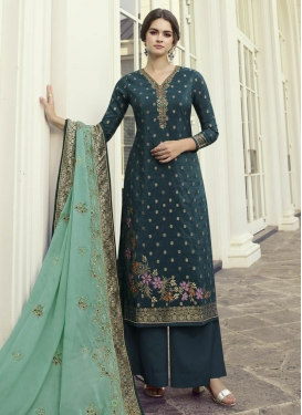Art Silk Palazzo Style Pakistani Salwar Suit For Ceremonial