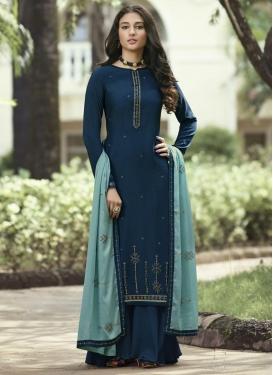 Art Silk Palazzo Style Pakistani Salwar Suit For Ceremonial