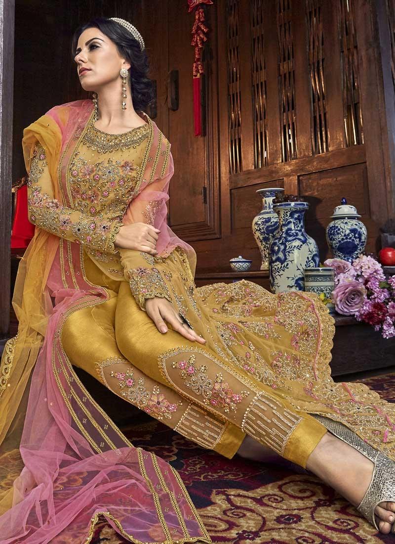 Art Silk Pant Style Designer Salwar Kameez For Festival