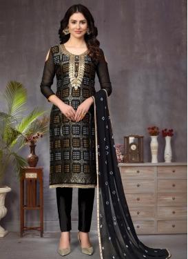 Art Silk Pant Style Straight Salwar Kameez