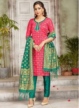 Art Silk Pant Style Straight Salwar Suit