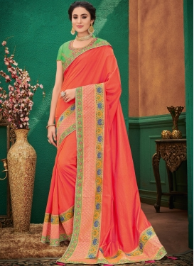 Art Silk Patch Border Designer Traditional Saree in Orange