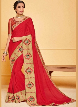 Art Silk Patch Border Traditional Saree in Red