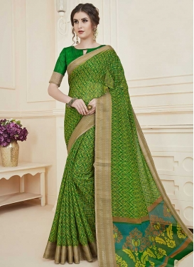 Art Silk Print Work Designer Contemporary Saree