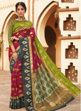 Art Silk Print Work Designer Contemporary Style Saree