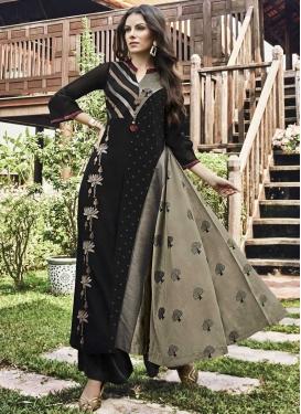 Art Silk Print Work Floor Length Trendy Gown
