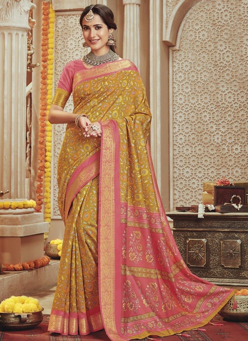 Art Silk Print Work Trendy Classic Saree