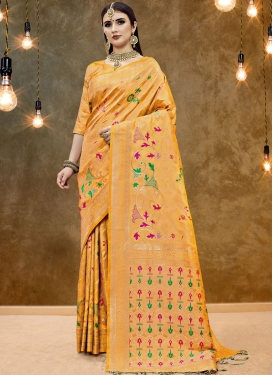 Art Silk Printed Orange Classic Designer Saree