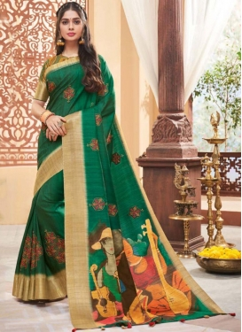 Art Silk Printed Saree in Green